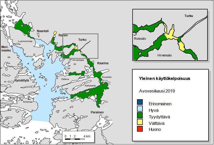 Karttakuva veden käyttökelpoisuudesta saaristoalueella